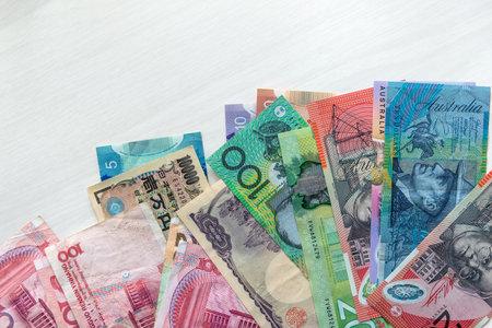 Mixed banknotes, Australia, China, Japan and Canada