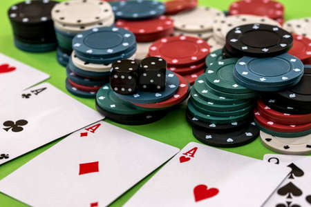 poker cards, chips and dice - close up