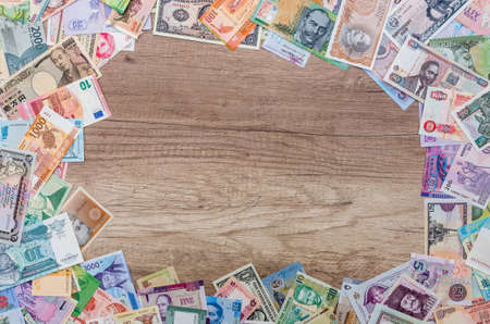 Frame from different banknotes with empty space in center