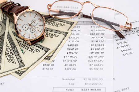 'Time for purchase' conception, money and watch
