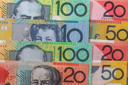 Banknotes of australian dollars in rows as background