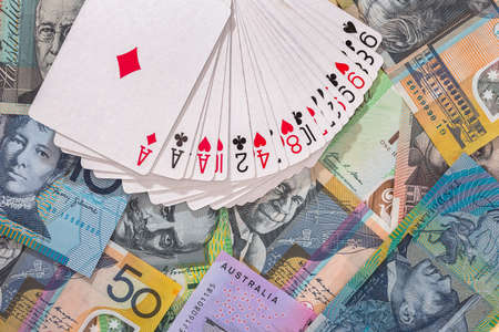 Deck of playing cards on australian dollar banknotes