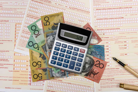 Calculator with australian dollars and tax form