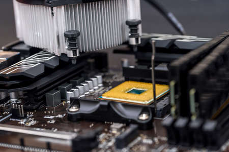 Personal computer motherboard with different details close up