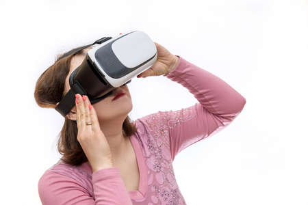 Woman looking via virtual reality isolated on white background