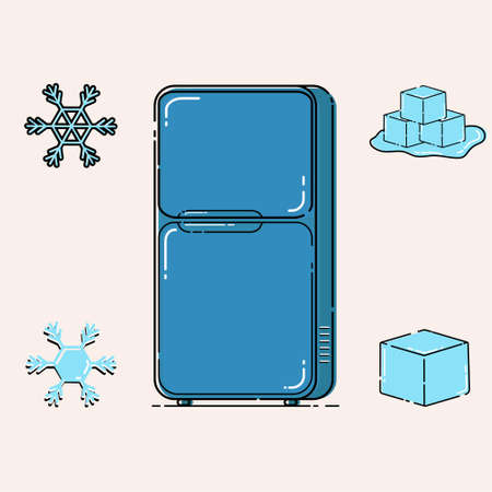 vector illustration refrigerator, ice cube, and snow fall mbe style Ilustrace