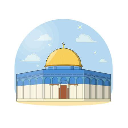 al-aqsa vector mosque flat design