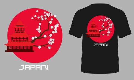 Japan t-shirt design. T-shirt design with Japan typography for tee print, poster and clothing