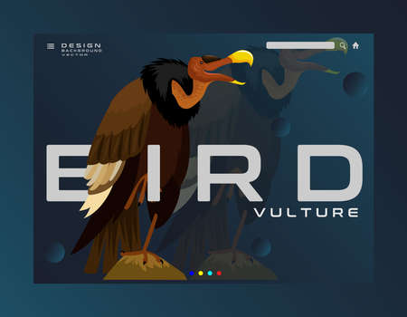 Vector illustration of animal vulture in black color, with long neck and big mouth that eats everything on dark blue background Vecteurs