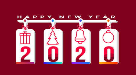 Merry christmas and happy new year vector background illustration