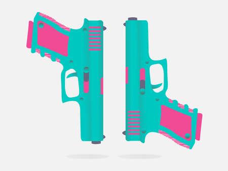 pretty gun illustration design in pink color for website wallpaper banner background