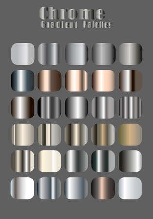 Chrome color gradient palette for gold themed poster banner background vector illustration design Ilustración de vector