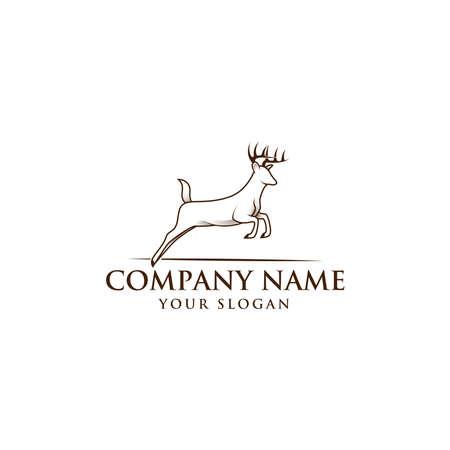 Running Horned Deer Line Art Vintage for Mascot Logo Template.
