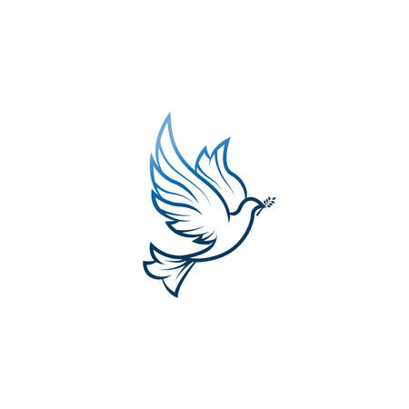 Illustration with dove holding an olive branch symbolizing peace on earth.