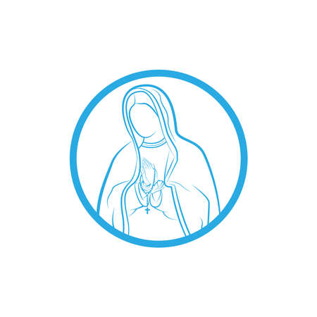 Our Lady Vector Logo illustrations outline template. Our Lady of lourdes, Blessed Mary Logo vector design template. Çizim