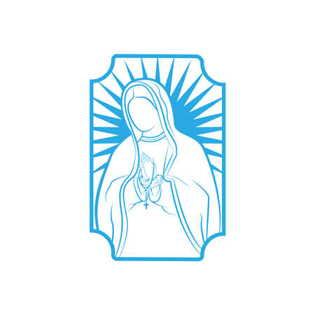 Our Lady Vector Logo illustrations outline template. Our Lady of lourdes, Blessed Mary Logo vector design template. Иллюстрация
