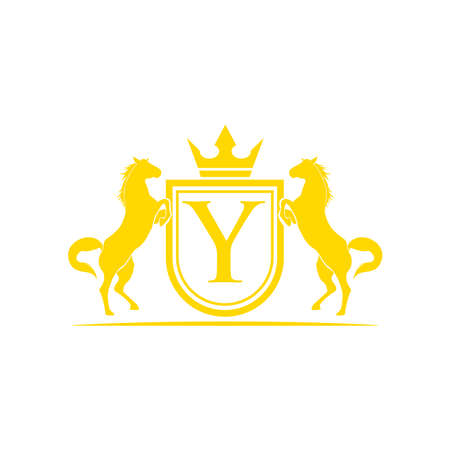 Horse Brand Logo design vector. Retro golden crest with shield and horses. Heraldic logo template. Luxury design concept. Can be used as logo, icon, emblem or banner.