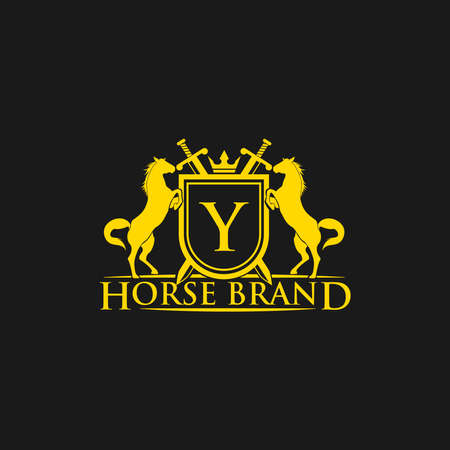 Initial LetterY logo. Horse Brand Logo design vector. Retro golden crest with shield and horses. Heraldic logo template. Luxury design concept. Can be used as logo, icon, emblem or banner. Illustration