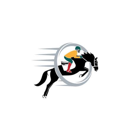 Jumping Horse Silhouette Logo vector design template. illustration of horse race stylized symbol, jockey riding a horse emblem.