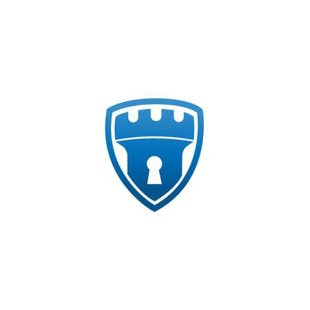 abstrakte Vektor-Schlossturm-Schild-Logo-Symbol. Vektor-Schloss-Logo-Kombination. Sicherheitstechnik-Symbol. Einzigartige einfache Designvorlage für das Festungslogo. Logo