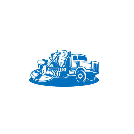 Vecteur de camion malaxeur à béton. Conception plate. Transports industriels. Machine de chantier. Pour illustrer le thème de la construction.