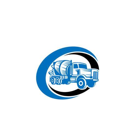 Vettore di camion di betonaggio. Design piatto. Trasporto industriale. Macchina da costruzione. Per illustrare il tema della costruzione.