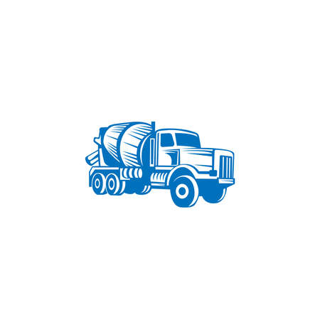 Concrete mixing truck vector. Flat design. Industrial transport. Construction machine. For construction theme illustrating. Illustration
