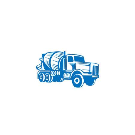 Vettore di camion di betonaggio. Design piatto. Trasporto industriale. Macchina da costruzione. Per illustrare il tema della costruzione. Vettoriali