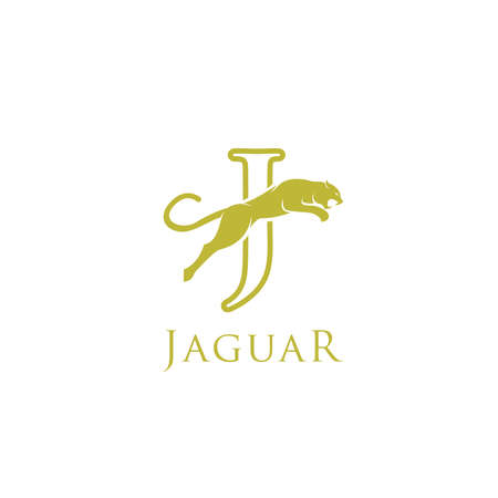 simple elegant roaring jaguar logo icon illustration vector template design. Standard-Bild - 133393435