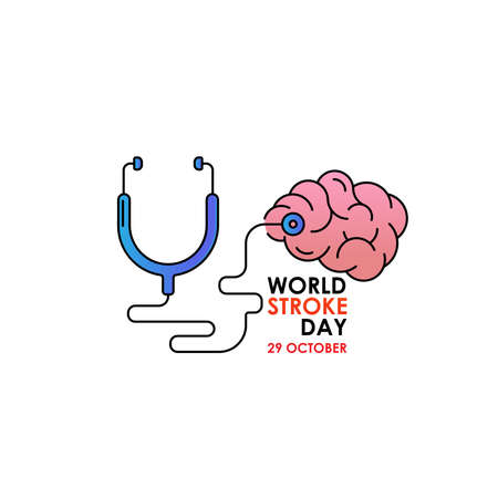 World Stroke Day - Vector logo poster illustration of World Stroke Day on October 29th. Health care awareness campaign. Logos
