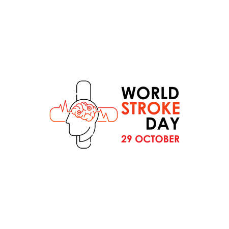 World Stroke Day - Vector logo poster illustration of World Stroke Day on October 29th. Health care awareness campaign. Vectores
