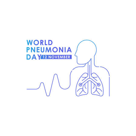 World Pneumonia Day - Lungs Vector logo poster illustration of World Pneumonia Day on 12 November. Healthcare and medical care awareness campaign.