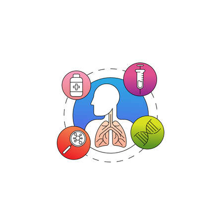 Lungs system inspection concept. Stock Illustratie