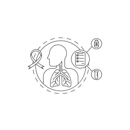 Lungs pulmonary icon, simple flat style. Internal organs of the human design element, logo. Asthma, tuberculosis, pneumonia, medicine concept. Isolated on white background. Vector illustration