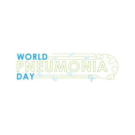 World Pneumonia Day - Lungs Vector logo poster illustration of World Pneumonia Day on 12 November. Healthcare and medical care awareness campaign. isolated on white background.