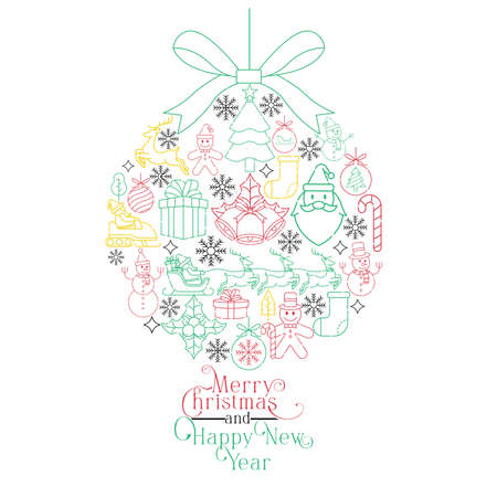Merry Christmas and Happy New Year Cool Vector Background. Merry Christmas vector illustration isolated on white background. Christmas vector icon modern and simple flat symbol for graphic design resources.