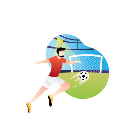 Football or soccer player vector illustration. Football player kicking ball Simple Flat vector illustration template Graphic Design. Football Sport Lifestyle design isolated on white background.