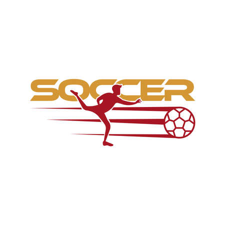 Soccer player kicks the ball. Sport Vector illustration with the soccer text and with soccer player below. Soccer logo, icon, mobile, website design template isolated on white background.