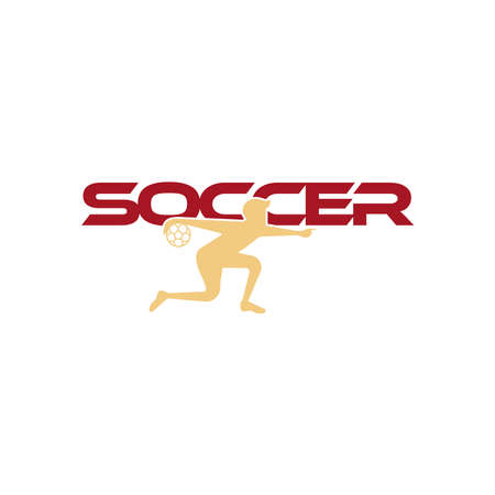 Soccer vector illustration of a silhouette soccer or football player isolated on white background. Sport Logo with soccer text and soccer player figure. Soccer vector for icon, logo, app, symbol.