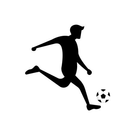 Soccer or football player. soccer vector illustration of a silhouette soccer or football player isolated on white background. Soccer flat design illustration for web, mobile, logo, icon, and graphic. Çizim