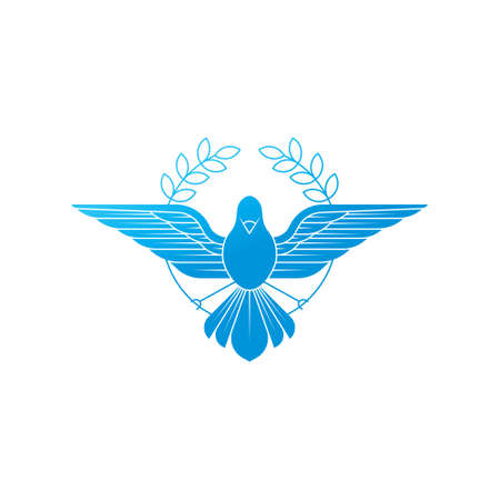 Illustration of flying Dove with olive branch symbolizing peace on earth. Line Art dove.