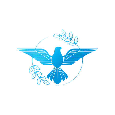 Illustration of flying Dove with an olive branch symbolizing peace on earth. Line Art dove.