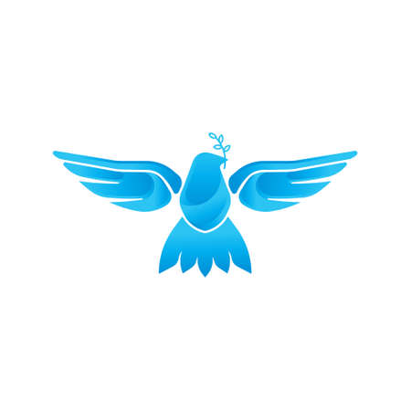 Dove icon illustration. Flying dove with olive branch on a white background.
