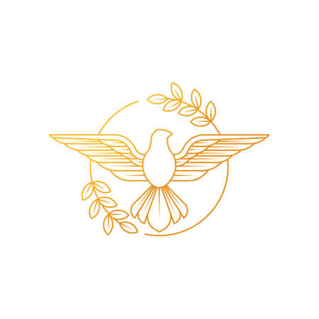 Dove Of Peace. Illustration of flying Dove with olive branch symbolizing peace on earth. Line Art dove.