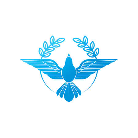 Dove icon illustration. A flying dove with olive branch on a white background.