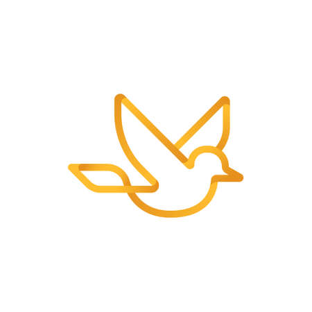 Dove icon. Flying dove silhouette design line art style on a white background.