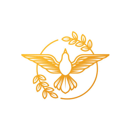 Dove icon illustration. Line art of a flying dove with olive branch on a white background.