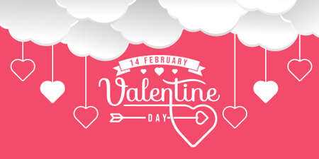 Valentines day background Vector illustration. Happy Valentines Day vector with heart and typography poster with handwritten calligraphy, Wallpaper, invitation, posters, brochure, banners.