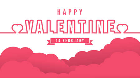 Happy Valentines day background Vector illustration. Happy Valentines day modern flat design style. Happy Valentines Day abstract background with hearts ornaments for poster, banner, greeting card.