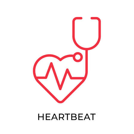 Heartbeat icon vector illustration. Medical Heartbeat vector template. Heartbeat icon design isolated on white background. Heartbeat vector icon flat design for website, sign, symbol, app, UI. Ilustracje wektorowe